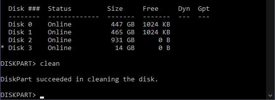 diskpart clean