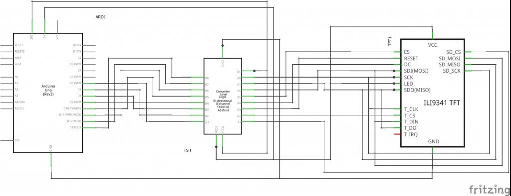 Arduino LCD Touchscreen and SD card circuit diagram