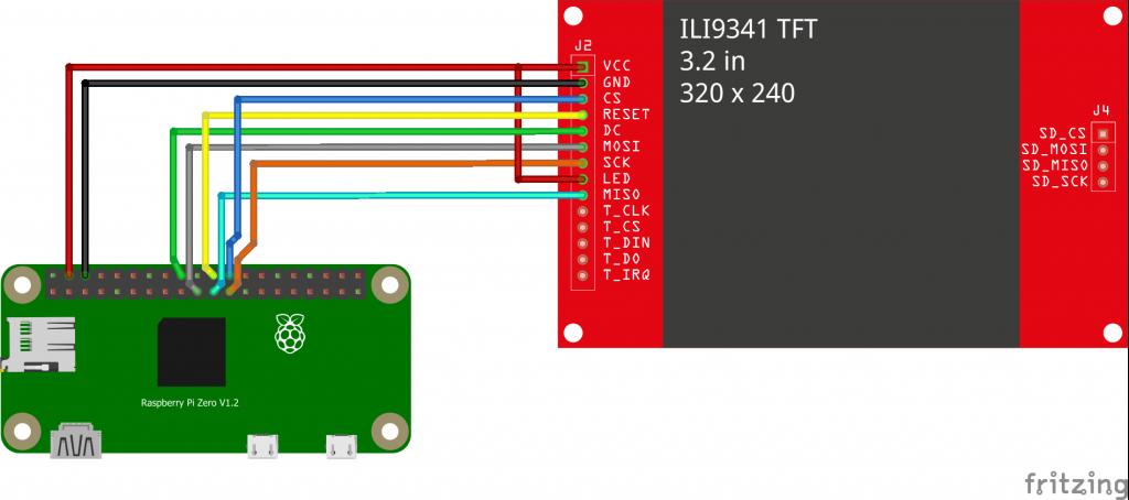 Raspberry Pi Zero LCD screen breadboard connection