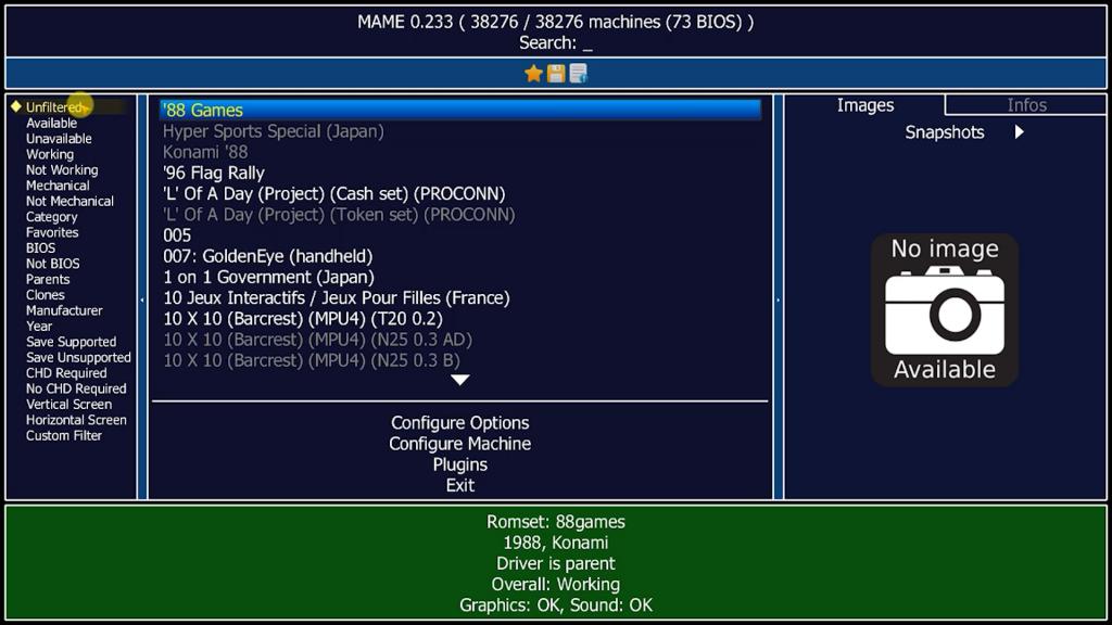 MAME screen